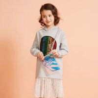 【全场2件2.5折,到手价:59.8】moomoo童装女童连衣裙新款春秋装中大儿童韩版洋气裙子