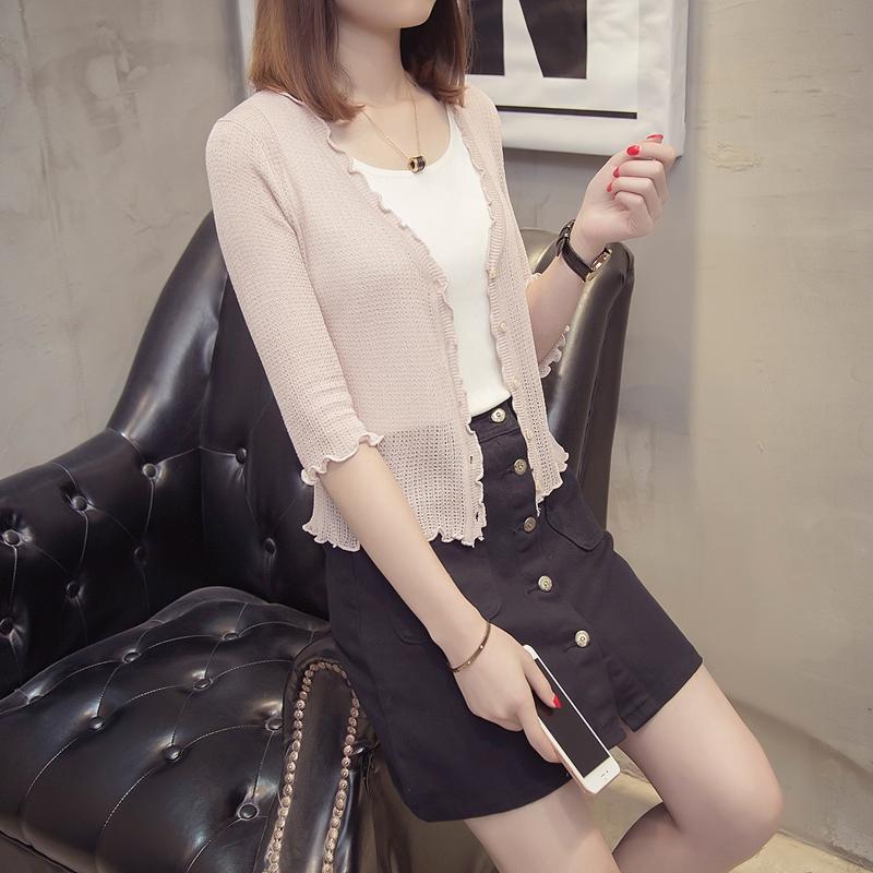 圆领冰丝针织衫2018年春夏女装蕾丝拼接九分袖套头衫韩版T恤上衣