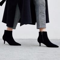卡其色靴子女尖头短靴女卡其色靴子2018冬季新款翻毛皮中跟踝靴高跟鞋细跟裸靴 TBP 黑色 单里
