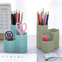 创意办公桌面六边形笔筒ins风格桌面摆件收纳盒床头小摆设笔插桶