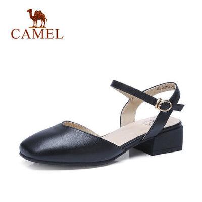 camel 骆驼玛丽珍牛皮女鞋春季新款包头一字扣单鞋方头平底粗跟鞋子