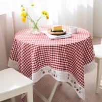 茶几桌布布艺棉麻圆桌布现代简约餐桌布小清新格子桌布梳妆台桌布 红色 红格草莓