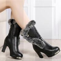 冬季真皮高跟中筒靴兔毛女靴粗跟棉靴女士靴子保暖棉鞋中靴马丁靴SN2538