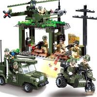 拼装积木6-14周岁儿童小颗粒小人仔塑料军事积木玩具男孩