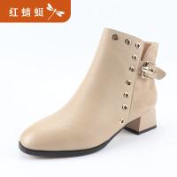 【领�幌碌チ⒓�120】金粉世家 红蜻蜓旗下 冬季新款真皮短筒靴时尚圆头马丁靴