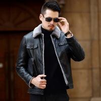 海宁冬款中年短款修身皮夹克男装皮毛一体皮衣男新款加厚皮草外套