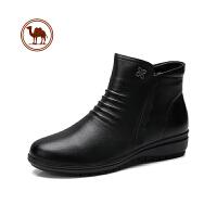 骆驼牌冬鞋短靴冬季妈妈坡跟厚底百搭马丁靴高帮英伦风雪地靴女