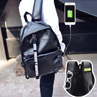 双肩背包男男士双肩包尼龙双肩包 双肩包男韩版皮质潮流个性时尚青年书包背包男士旅行包潮 +USB充电+背带卡位+耳机孔