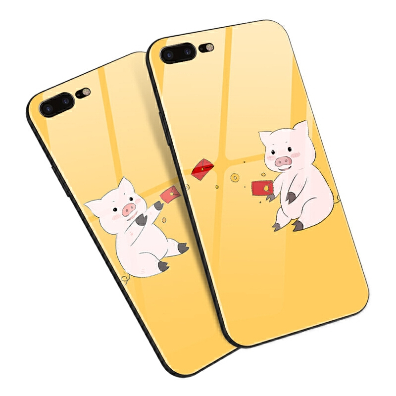 苹果iphone7 8p 6s plus 5s/se手机壳玻璃软意情侣可爱萌小猪