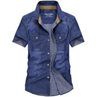 牛仔短袖衬衫男士休闲韩版寸称衫夏季青年半袖纯棉薄款宽松衬衣潮