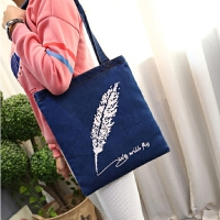 复古手提女包韩国新款单肩包学生印花水洗牛仔布包环保购物袋