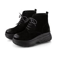 2018秋季新款真皮马丁靴女英伦风松糕厚底女鞋韩版学生百搭短靴冬真皮 黑色