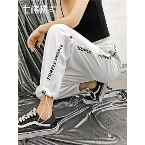 七格格高腰运动裤女春季装2019新款韩版宽松学生白色束脚显瘦裤子