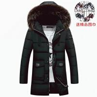 冬季加厚青年羽绒韩版男士毛领棉衣中长款外套潮棉袄