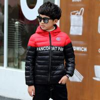 儿童羽绒服中大童轻薄款男童连帽小孩短款男孩冬季小学生童装外套