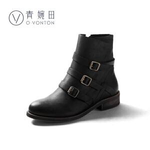 青婉田2018新款春冬复古手工真皮靴子英伦马丁靴女机车靴帅气搭扣