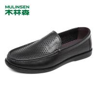 木林森男鞋(MULINSEN) 透气舒适商务商务休闲皮鞋英伦套脚时尚休闲鞋打孔冲孔鞋87052765