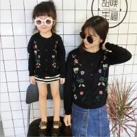 2018年欧美BP同款春装绣花亲子装长袖毛衣母女针织开衫纯棉外套