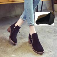 女鞋秋冬新款英伦风磨砂女靴圆头粗跟侧拉链高跟马丁靴女短靴百搭