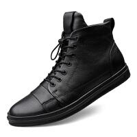 新款休闲高帮系带板鞋秋冬加绒大码皮鞋韩版潮流牛皮透气运动男鞋