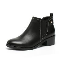 如熙2017秋冬新品 细腻PU 精致明显设计时尚女靴
