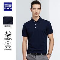 罗蒙(ROMON)短袖T恤男2021夏季新款百搭简约纯色t恤中青年商务休闲polo衫