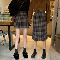 秋季2020新款�n版高腰短裙百搭A字裙中�L款格子女包臀半身裙�@瘦