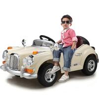 儿童电动车童车四轮双驱遥控可坐电动汽车老爷车宝宝玩具车 米白色【高配】2.4G双电双驱+缓启动+全新中控+