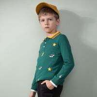 【3件3折:79.5元】暇步士童装新款男童印花POLO衫儿童长袖T恤