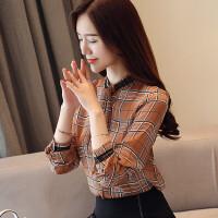 格子衬衫女长袖秋季雪纺上衣服秋款韩版领带衬衣秋装女208新款潮