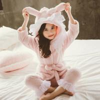 女童珊瑚绒睡衣加绒款套装中大童小女孩宝宝儿童法兰绒家居服秋冬
