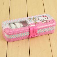?韩国风格小清新女生铁三层铅笔盒马口铁大容量带搭扣儿童文具