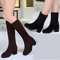 冬款韩版毛线靴子女圆头中筒中跟百搭粗跟短靴两穿女靴雪地靴