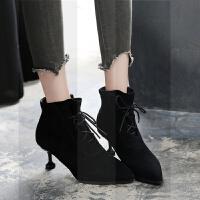 秋冬女靴2018新款高跟鞋5cm猫跟女鞋显瘦短筒靴尖头加绒系带裸靴SN8926