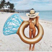 钻石戒指游泳圈水上充气成人浮排网红拍照道具旅游摄影泳池浮床垫