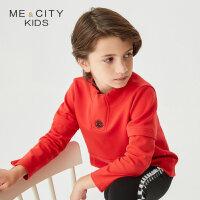 【1件2.5折到手价:53.8】米喜迪mecity童装春新款男童字母绣花两节袖红色套头卫衣