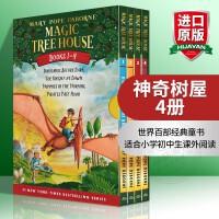 【包邮】神奇树屋 英文原版儿童绘本 Magic Tree House 1-4册盒装 美国中小学课外阅读故事章节桥梁书 进