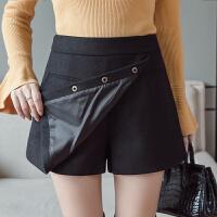 毛呢短裤女冬款外穿高腰阔腿修身韩版冬季新款显瘦a字厚裤裙