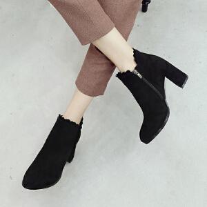 ZHR粗跟短靴韩版高跟加绒复古百搭短筒女靴子2018秋冬季新款