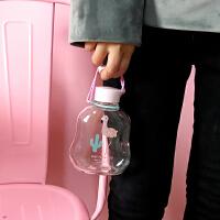 韩版可爱卡通小清新简约便携学生软妹随手杯透明夏日玻璃水杯子