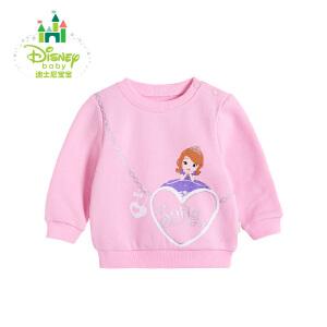 【卷后139元3件】迪士尼Disney童装女童卫衣春秋新款保暖抓绒圆领长袖宝宝外出上衣打底衫173S963