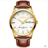 手表防水商务双日历休闲手表石英表皮带男表男士手表