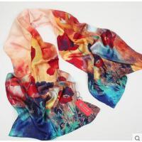 新品桑蚕丝长丝巾女丝绸纱巾真丝围巾长款真丝沙滩丝巾