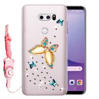 LG V30手机壳LG V30+保护套H930硅胶软套防摔保护后壳水钻女 戏碟水钻送挂绳