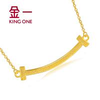 金一黄金项链足金笑脸吊坠百搭锁骨链时尚黄金套链