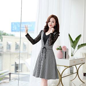 2018早秋新款韩版时尚收腰系带显瘦格子气质假两件连衣裙女