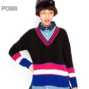【不退不换】PASS原创潮牌秋装 撞色条纹宽松气质V领长袖款毛衣女6530423015