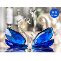创意K9人造水晶天鹅摆件家居客厅装饰品桌面摆设结婚礼物