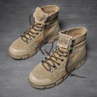 男鞋冬季潮鞋加绒保暖棉鞋高帮帆布韩版潮流百搭chic小白休闲白鞋