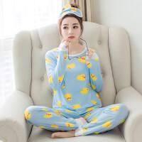 2018春季韩版睡衣女士卡通鸭子长袖套装莫代尔可爱女生薄款两件套